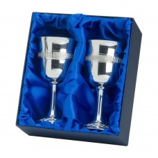 PAIR OF CELTIC GOBLETS IN PRESENTATION BOX