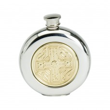 6OZ ROUND FLASK BRASS CELTIC CROSS