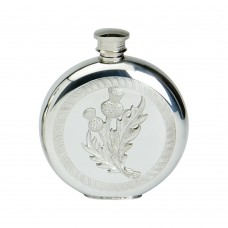 60Z ROUND FLASK WITH THSTLE BADGE