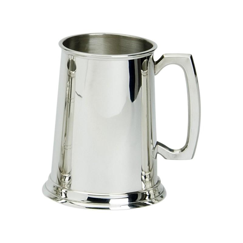 1PT PEWTER TANKARD PLAIN GLASS BASE