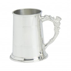 1PT PEWTER TANKARD STANDARD THISTLE HANDLE