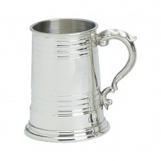1PT PEWTER TANKARD WORCESTER GLASS BASE
