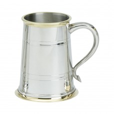 1PT PEWTER TANKARD CHESTERFIELD BRASS