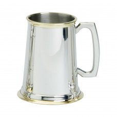 1PT PEWTER TANKARD PLAIN WITH BRASS , GLASS BASE