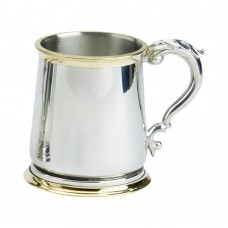 1PT PEWTER TANKARD GEORGE 111 BRASS GLASS BASE