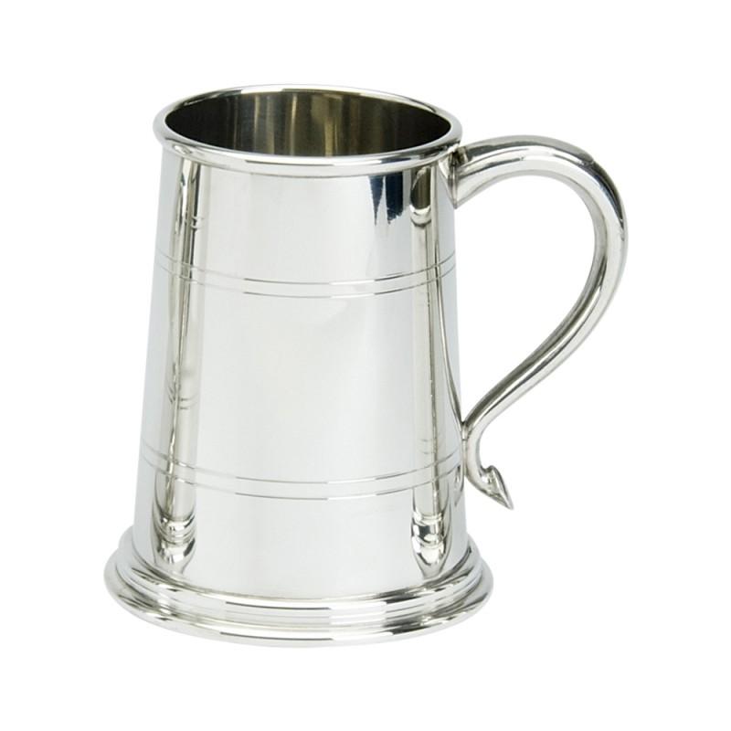 1 PT PEWTER TANKARD WELLS GLASS BASE