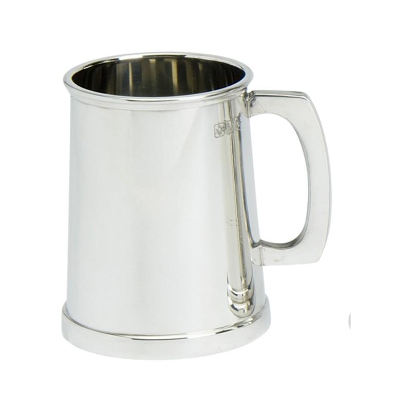 1PT PEWTER TANKARD CHARLES 11 GLASS BASE
