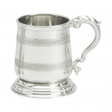 1PT PEWTER TANKARD GEORGE 111 TWO CELTIC BANDS