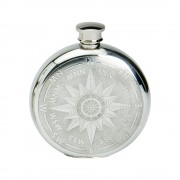 6OZ ROUND PEWTER COMPASS FLASK