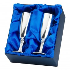 PAIR OF BRIDE AND GROOM FLUTE GOBLETS