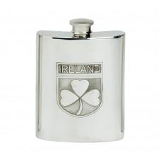 6OZ IRELAND SHIELD HIP FLASK