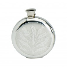 6OZ ROUND PEWTER CLASSIC THISTLE FLASK