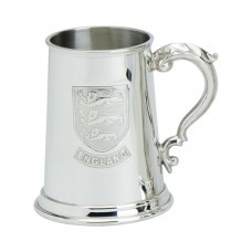 1PT PEWTER TANKARD ENGLAND BADGE