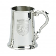1 PT PEWTER TANKARD WALES BADGE