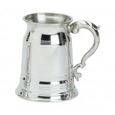 1PT PEWTER TANKARD OLD LONDON GLASS BASE