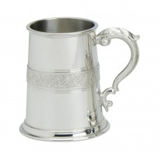 1PT PEWTER TANKARD CELTIC SERPENT WIRE