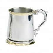 1PT PEWTER TANKARD GEORGE 111 BRASS GLASS BASE