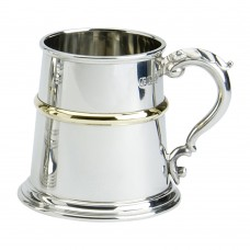 1PT PEWTER TANKARD FRANKLIN WITH BRASS WIRE